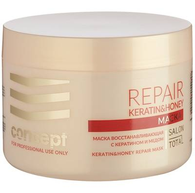 Маска для волос восстанавливающая, Concept, Salon Total Repair, Keratin & Honey Repair Mask, 500 мл, 51721 – купить в Минске | Azarina.by